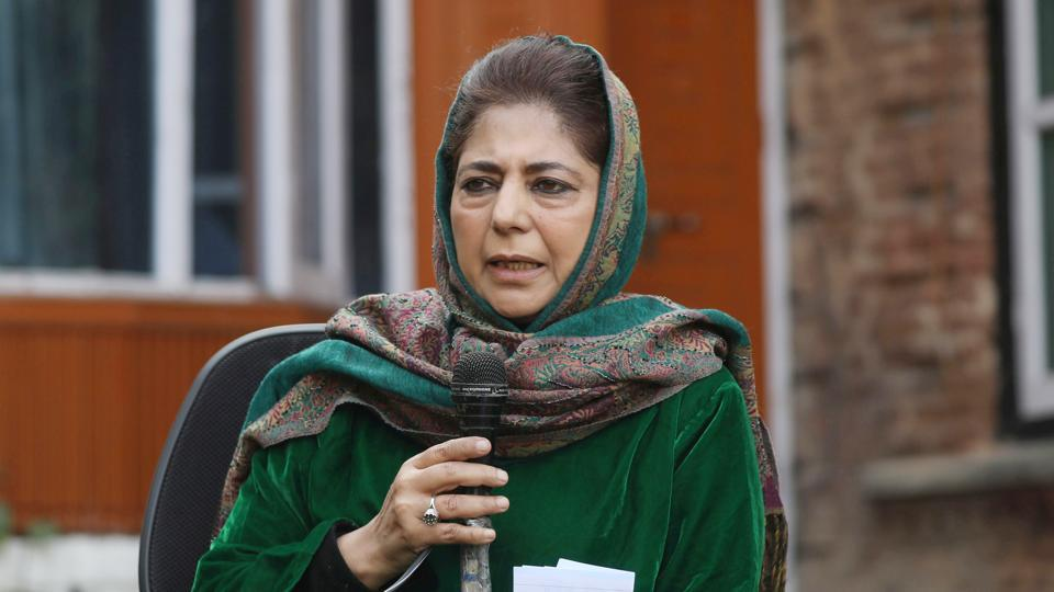 Peoples Democratic Party's (PDP) president and former chief minister Mehbooba Mufti addressing a press conference at her official residence in Srinagar, Jammu and Kashmir on Friday.