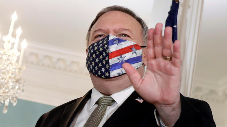 In picture - US Secretary of State Mike Pompeo at the State Department in Washington.