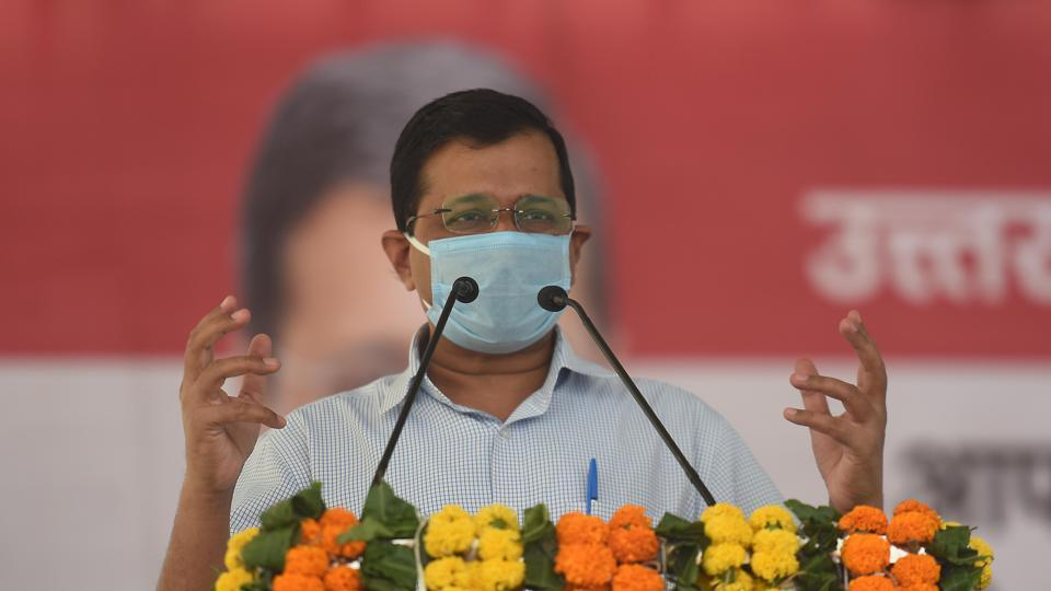 Chief minister Arvind Kejriwal addresses the gathering during the inauguration of the newly-constructed Shastri Park – Seelampur flyover, in New Delhi.