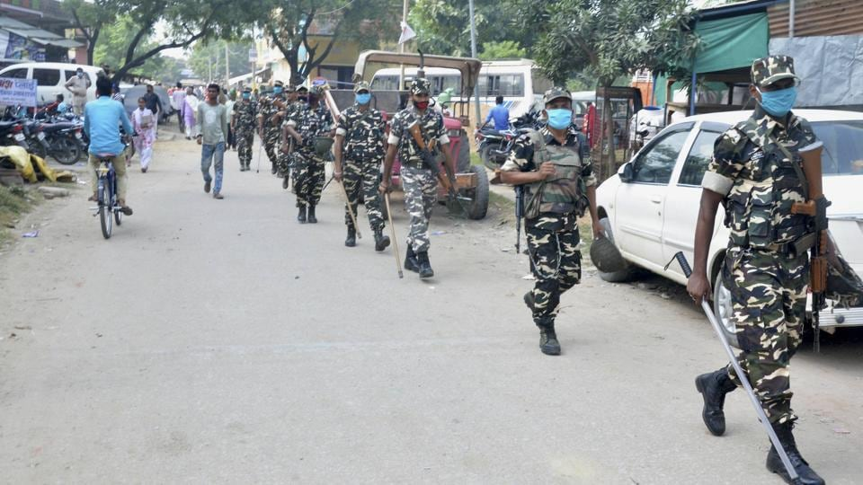 Sashastra Seema Bal (SSB) personnel patrol the villages of Kargahar block ahead of the Bihar Assembly Polls, in Rohtas district.