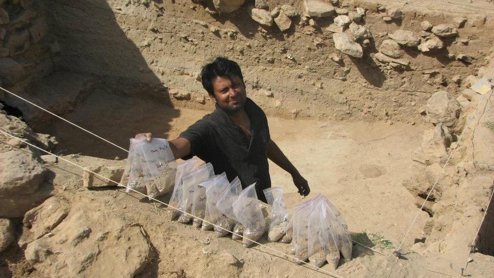 Lead researcher Kalyan Sekhar Chakraborty at the excavation site of the Indus Valley Civilisation settlement in Gujarat.