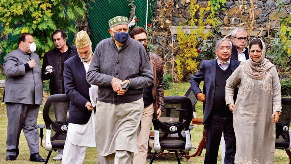 National Conference president Farooq Abdullah, PDP chief Mehbooba Mufti and others after a meeting of the People's Alliance for Gupkar Declaration in Srinagar on Saturday.