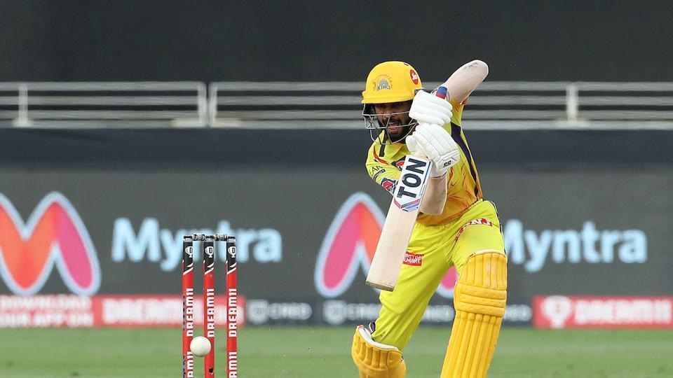 IPL 2020 RCB vs CSK: Ruturaj Gaikwad connects a crisp drive.