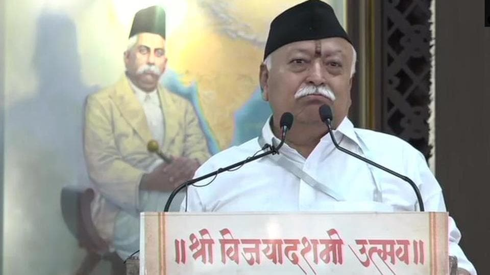Mohan Bhagwat addressing the RSS workers during annual Dussehra events in Nagpur on Sunday.