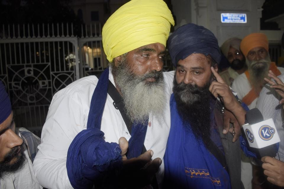 Injured Sikh activists after the clash with SGPC employees in Amritsar on Saturday.