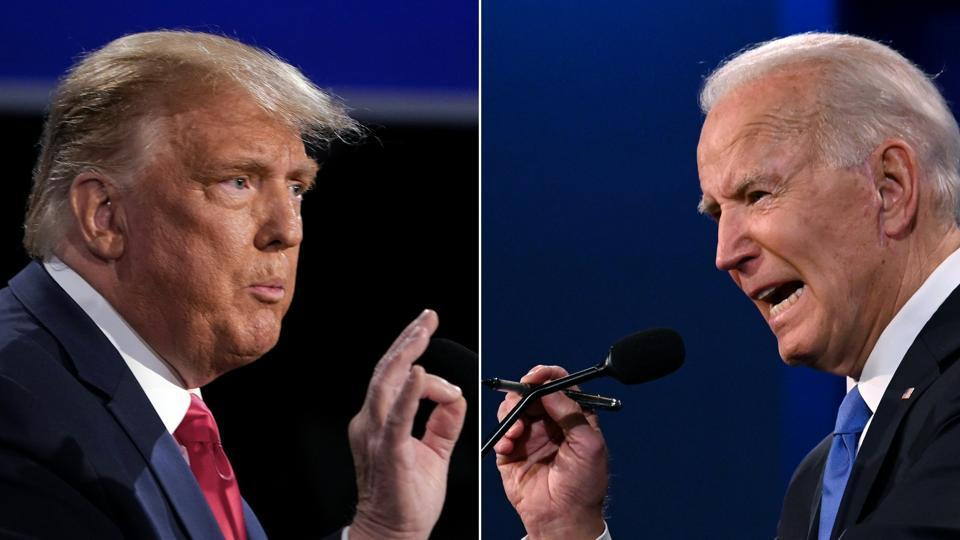 A combination of picture of US President Donald Trump (L) and Democratic Presidential candidate Joe Biden during the final presidential debate at Belmont University in Nashville, Tennessee, on October 22.