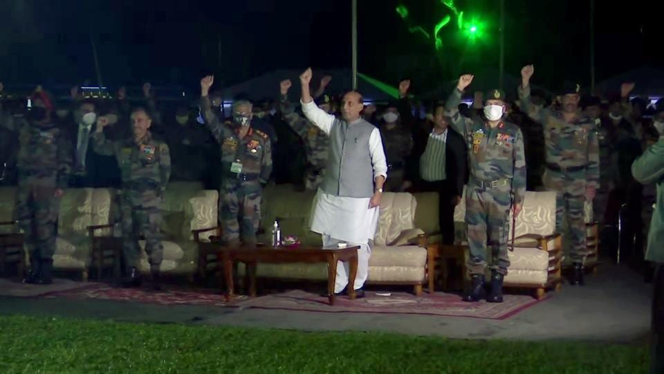 Defence minister Rajnath Singh attends a cultural event at Headquarters of 33 Corps in Sukna of Darjeeling on Saturday.