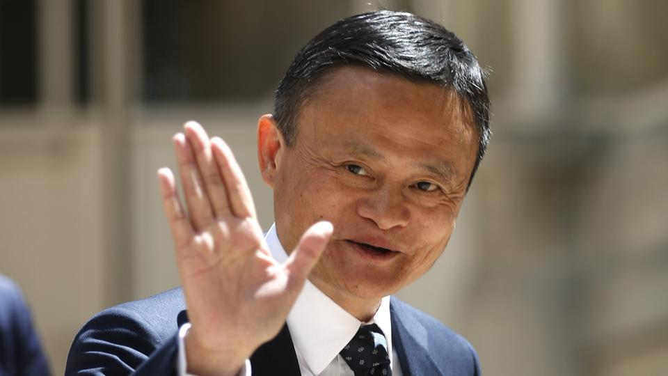 Founder of Alibaba group Jack Ma at a tech in Paris.