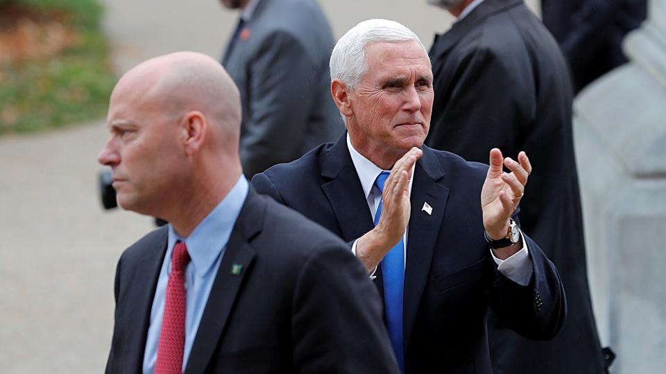 In picture - Vice President Mike Pence and his Chief of Staff Marc Short, outside the New Hampshire State House in Concord, New Hampshire, US.