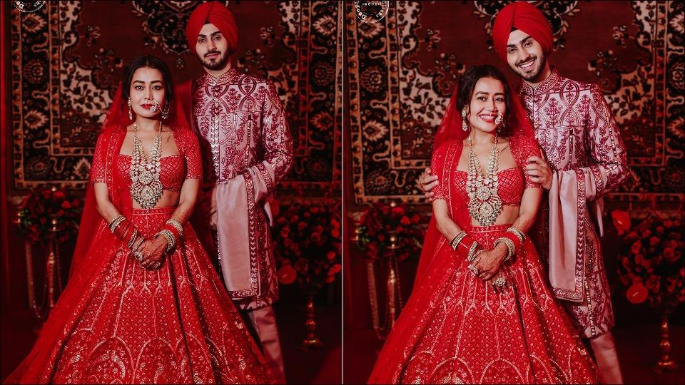 Neka Kakkar-Rohanpreet Singh look dreamy in colour-coordinated outfits on wedding night