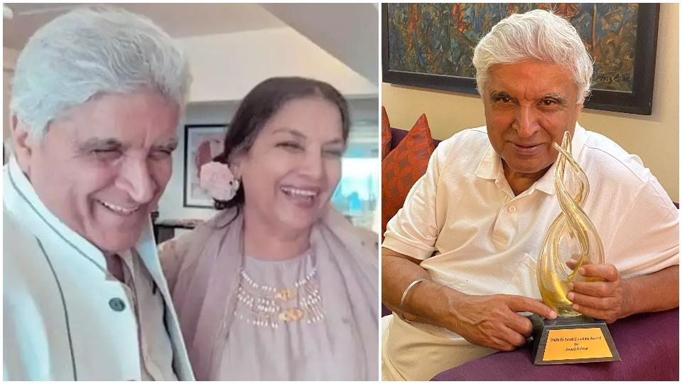 Shabana Azmi has posted a happy picture of Javed Akhtar with his award.