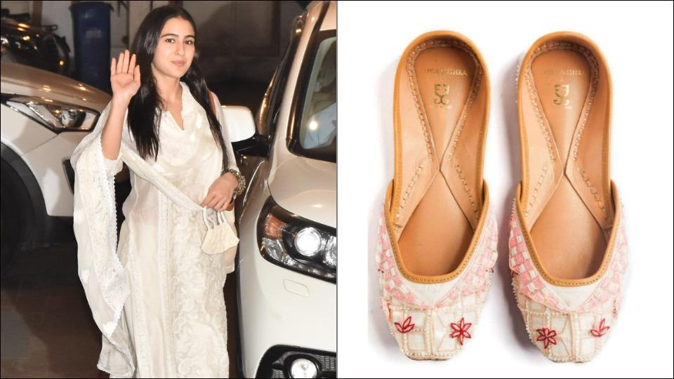 Sara Ali Khan proves white needs no season, stuns in a chikankari suit and collar colour juttis at Saif Ali Khan's residence