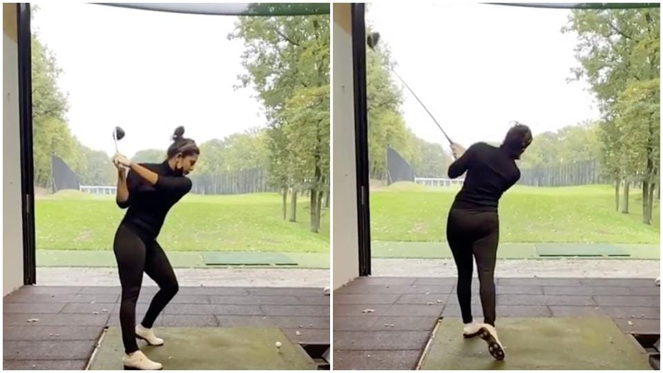 Priyanka Chopra strikes an impressive shot as she plays golf in Berlin while shooting for Matrix 4. Watch video