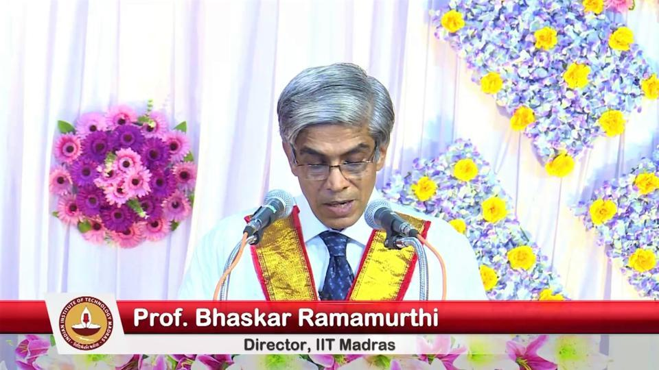 Prof Bhaskar Ramamurthi, Director, IIT Madras, addressing the students during the 57th convocation of the institute held in 'Mixed Reality' mode.