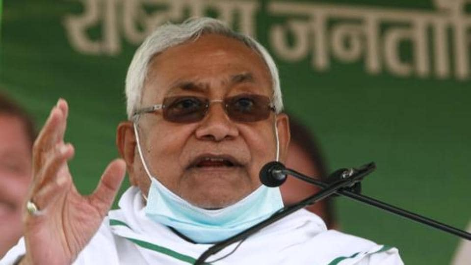 Bihar Chief Minister Nitish Kumar addressing an election meeting in Jamui, Bihar, October 15, 2020.