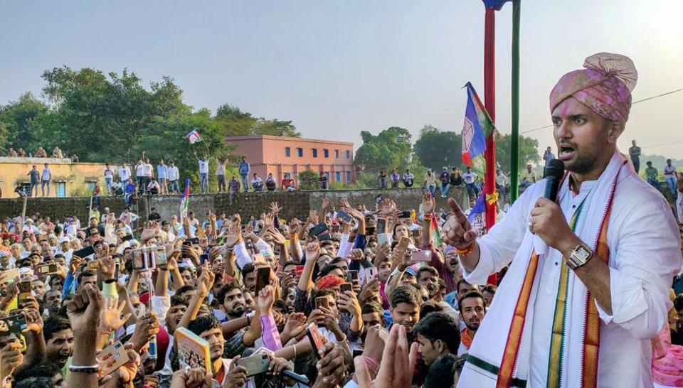 Buxar: Lok Janshakti Party (LJP) President Chirag Paswan addresses a rally ahead of Bihar assembly polls, in Buxar district, Sunday, Oct. 25, 2020. (PTI Photo)