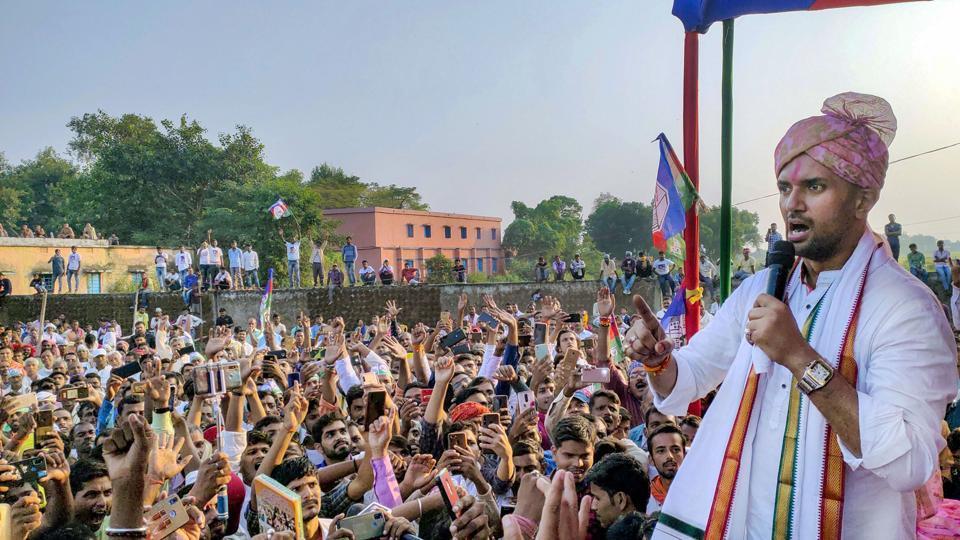 Lok Janshakti Party (LJP) President Chirag Paswan addresses a rally ahead of Bihar assembly polls, in Buxar district.