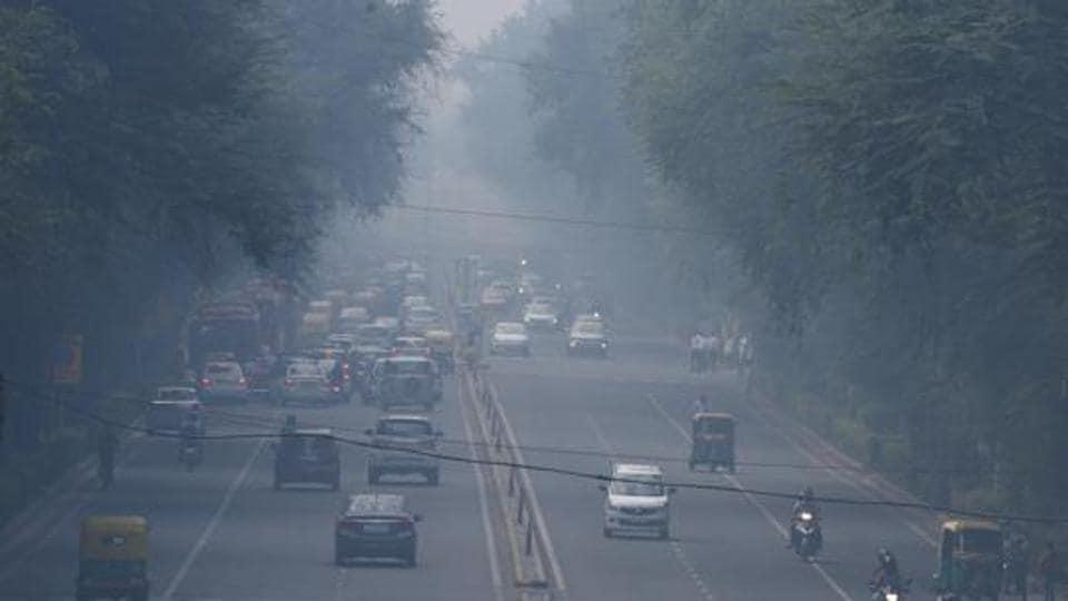 Air pollution near Supreme Court on Tilak Marg in New Delhi.