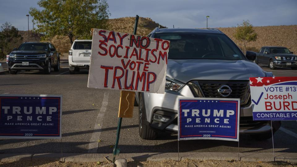 In picture - Campaign posters outside an early voting location in El Paso, Texas.