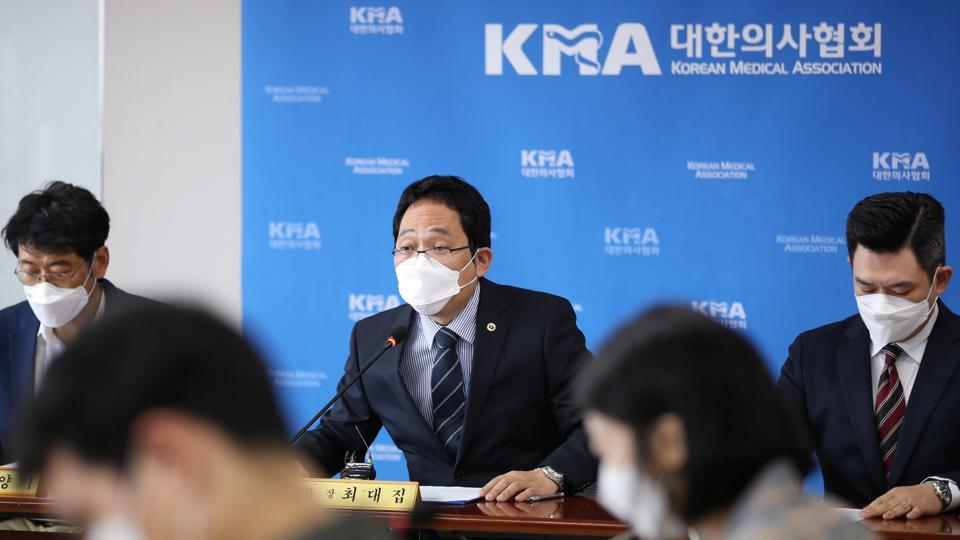Choi Dae-zip, president of the Korean Medical Association, speaks during a news conference following the deaths of people who received flu vaccine in Seoul, South Korea.