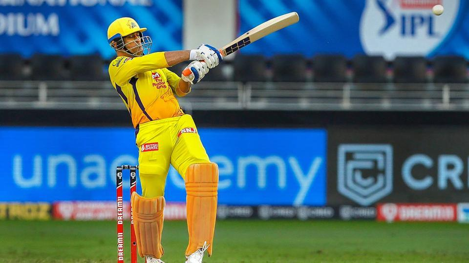 MS Dhoni captain of Chennai SuperKings plays a shot during the Indian Premier League (IPL) match between the Royal Challengers Bangalore and the Chennai Super Kings.