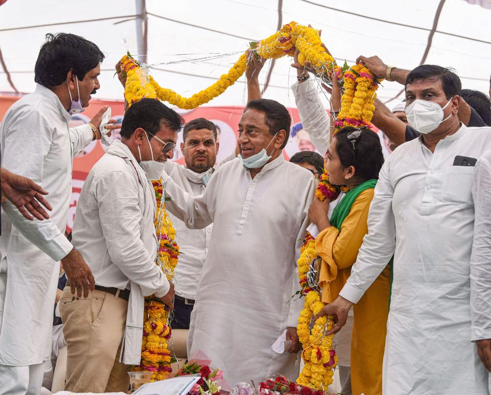 Former chief minister and senior Congress leader Kamal Nath during a public meeting ahead of the by-elections, at Sanwer village in Indore.
