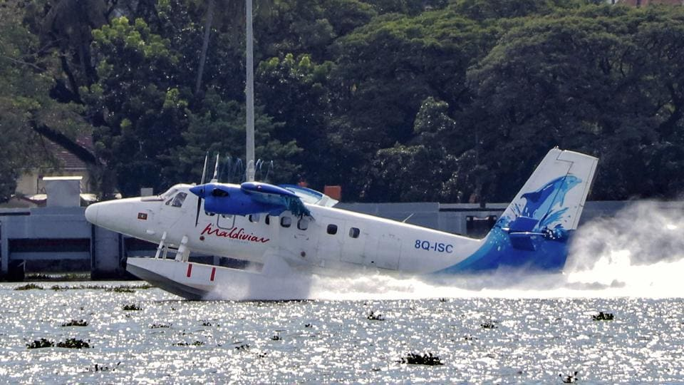 India's first seaplane lands at Kochi Lake for refueling, ahead of its inauguration in Gujarat, in Kochi.  (PTI Photo)