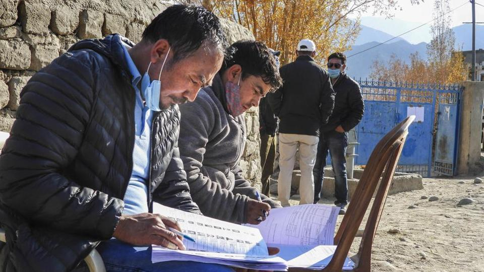 Polling officials during the Ladakh Autonomous Hill Development Council  elections, in Leh, on October 22.