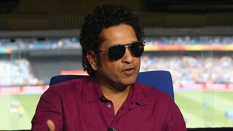Sachin Tendulkar speaks to the media during the 2015 ICC Cricket World Cup match between South Africa and India at Melbourne Cricket Ground on February 22.