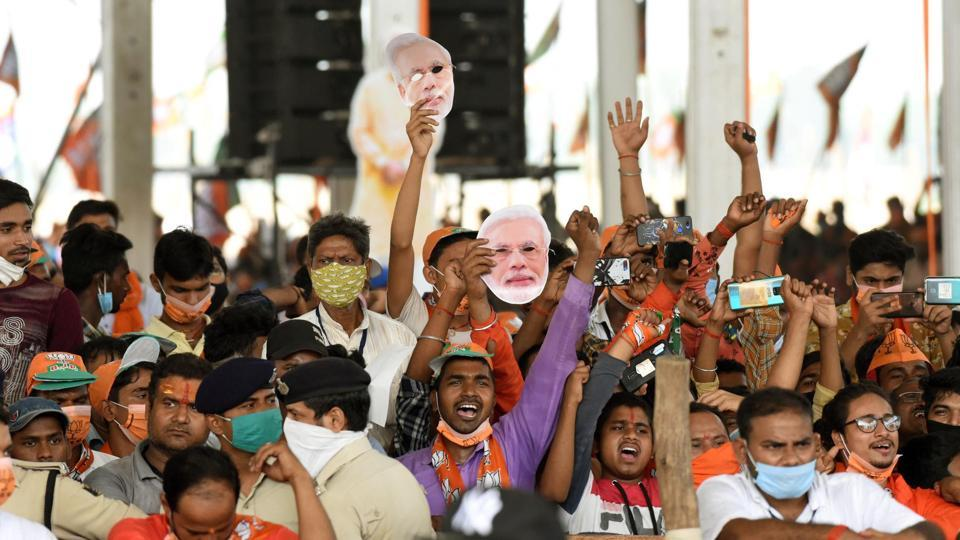 A view of a gathering of people during Prime Minister Narendra Modi's election campaign rally in Sasaram, Bihar (Photo by Santosh Kumar/ Hindustan Times)