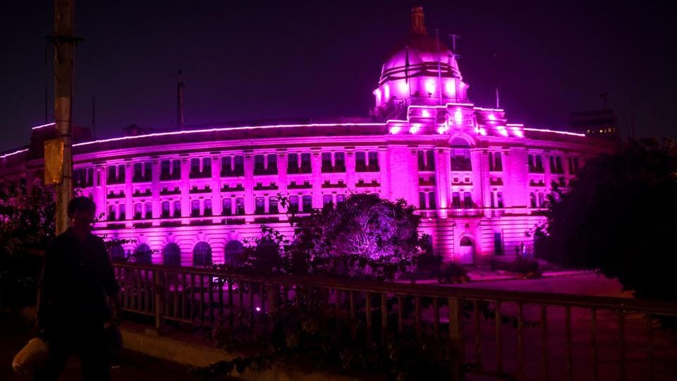 In picture - Building lit with pink lighton the occasion of thebreast cancerawarenessmonthin Karachi on October 10, 2020.