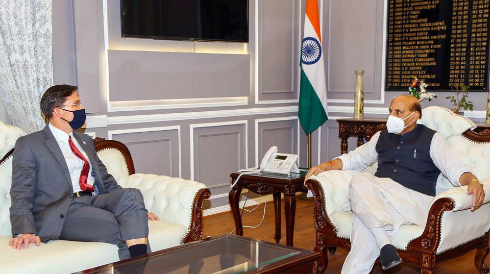 Defence Minister Rajnath Singh during a meeting with US Secretary of Defence, Dr. Mark Esper to discuss India-US defence relations and mutual cooperation, in New Delhi.