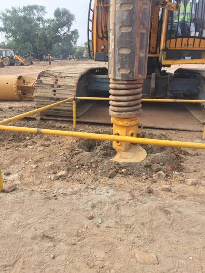 A foundation pillar of the Ram temple in Ayodhya being tested with a vertical load.