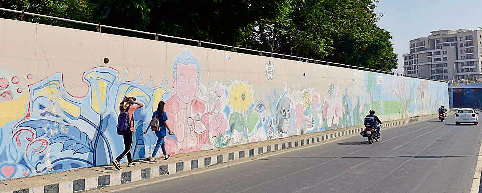The graffiti project was started in 2016 by the then MC commissioner Ghanshyam Thori and several parts of the city, including Lodhi Club railway underpass, Jalandhar bypass, National road, Lakkar bridge, railway station road among other areas, were beautified.