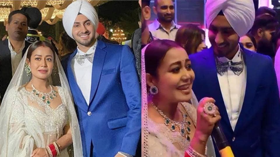 Neha Kakkar and Rohanpreet Singh during their wedding reception.
