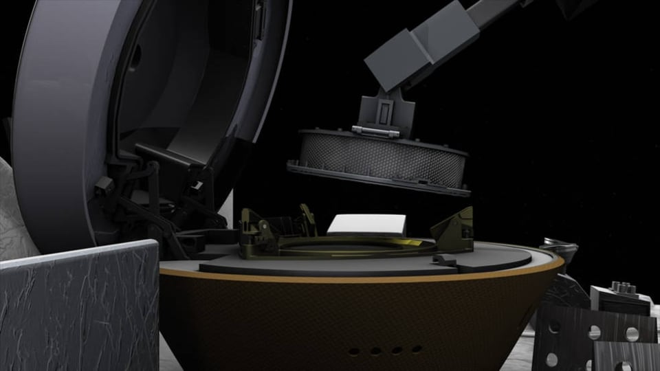 This illustration shows NASA's OSIRIS-REx spacecraft stowing the sample it collected from asteroid Bennu on Oct. 20, 2020.