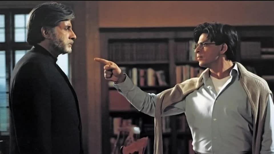 Mohabbatein turns 20: Amitabh Bachchan and Shah Rukh Khan in a scene from the film.