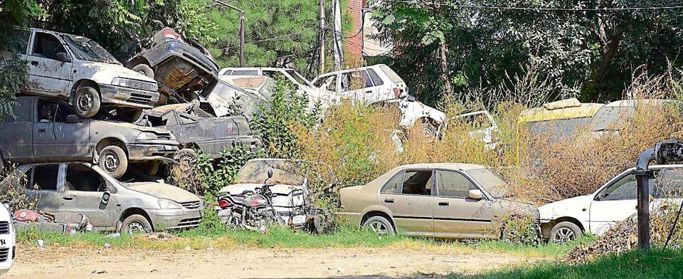 Hundreds of vehicles are dumped at 28 police stations in the city and in the police lines compound.