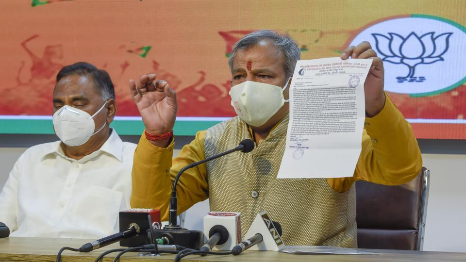 In picture - Delhi BJPparty president AdeshGupta in a press conference. The seven-day campaign was launched by the Delhi BJP on Saturday to make people aware of the need to follow precautions like wearing face cover and maintain social distancing.