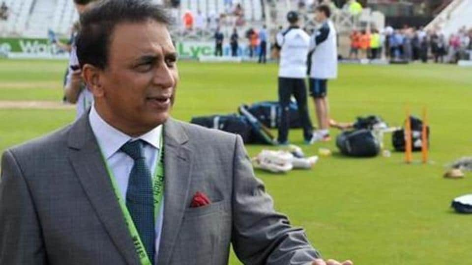 Former Indian cricketer Sunil Gavaskar speaks with Mahendra Singh Dhoni of India ahead of day one of 1st Investec Test match between England and India at Trent Bridge.