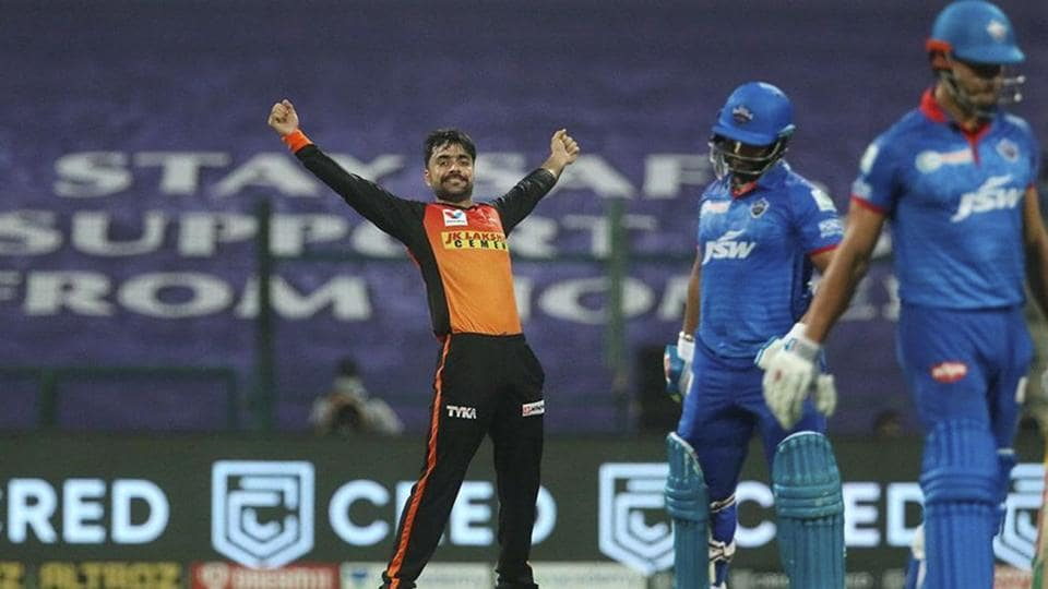 Sunrisers Hyderabad player Rashid Khan celebrates the wicket of Delhi Capitals batsman Rishabh Pant during the Indian Premier League 2020 cricket match, at Sheikh Zayed Stadium.