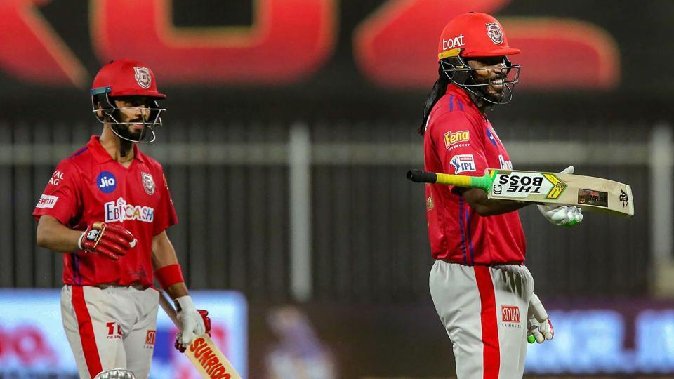 Sharjah: Chris Gayle of Kings XI Punjab after scoring fifty runs during Indian Premier League (IPL) cricket match against Kolkata Knight Riders, in Sharjah, UAE, Monday, Oct. 26, 2020. (PTI Photo/Sportzpics for BCCI) (PTI26-10-2020_000259A)