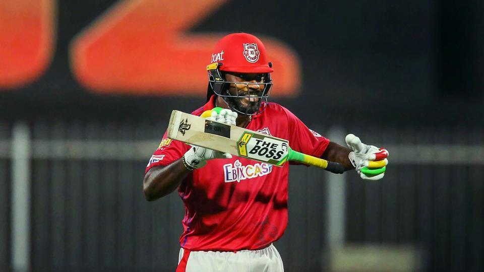 Chris Gayle of Kings XI Punjab after scoring fifty runs during Indian Premier League (IPL) cricket match against Kolkata Knight Riders, in Sharjah, UAE.