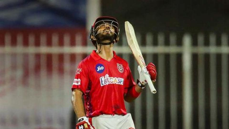 Mandeep Singh of Kings XI Punjab after reaching his half-century during the Indian Premier League (IPL) cricket match against Kolkata Knight Riders, in Sharjah.