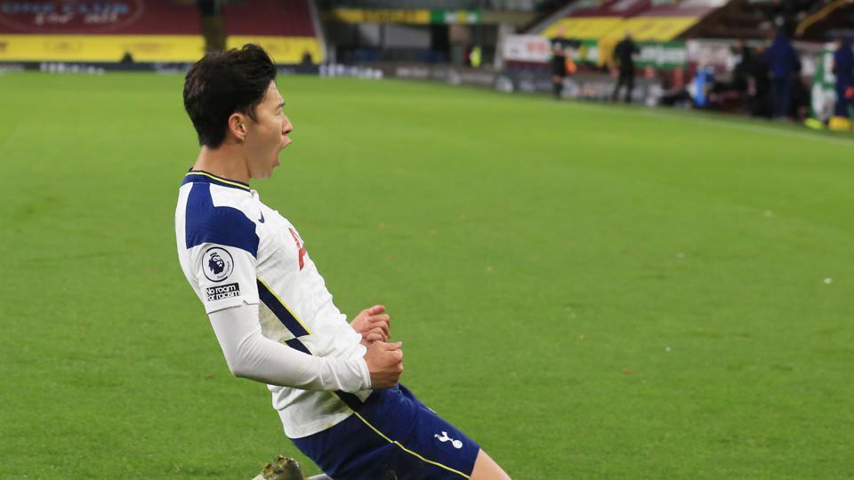 Tottenham Hotspur's Son Heung-min celebrates scoring their first goal.