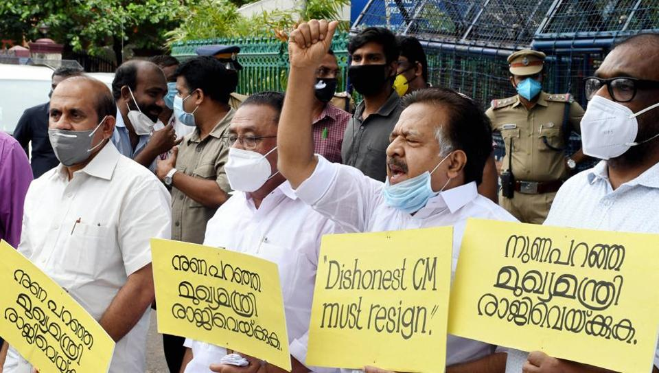 Leader of the Opposition Ramesh Chennithala in a protest march before the state secretariat demanding the resignation of Kerala Chief Minister Pinarayi Vijayan.