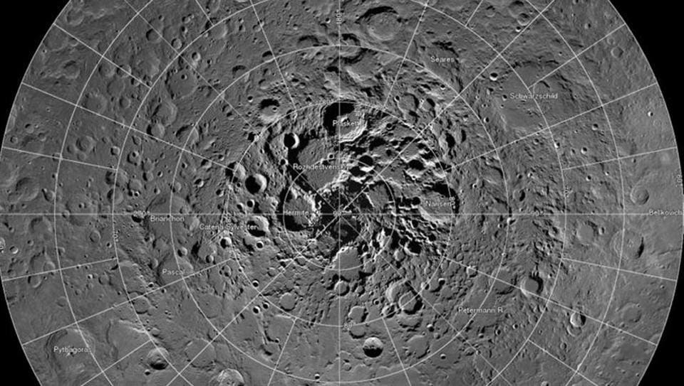 A high resolution mosaic of the moon's north polar region taken by scientists using cameras aboard NASA's Lunar Reconnaissance Orbiter .