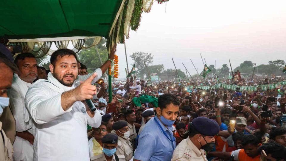 RJD leader Tejashwi Yadav at an election meeting at Raghopur in Bihar's Vaishali district  Monday.