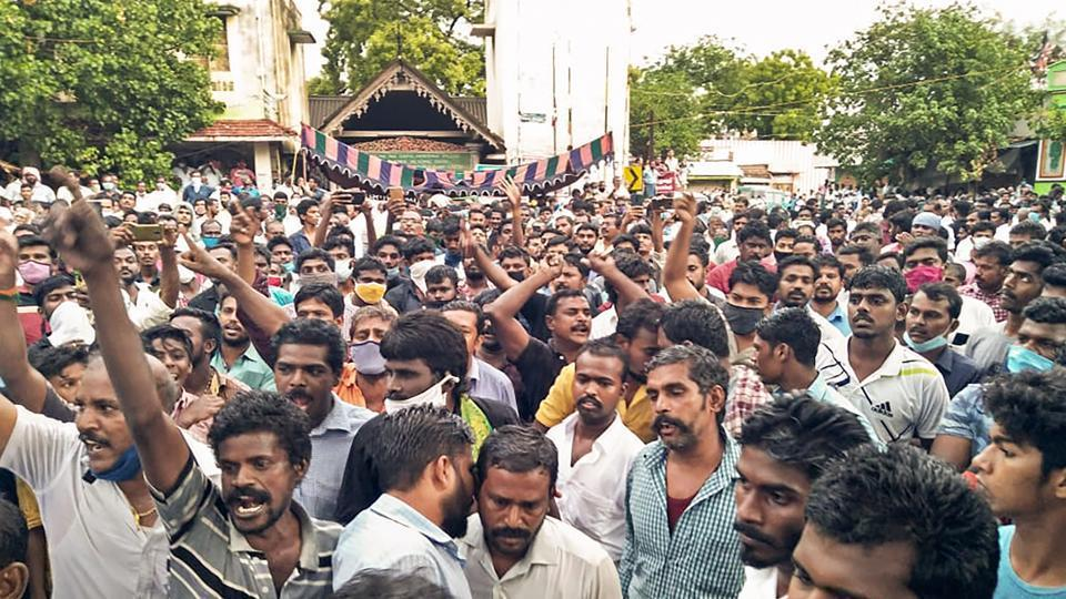 Villagers protesting against the custodial deaths of Jeyaraj and Bennicks at Sathankulam in Tuticorin district in June.