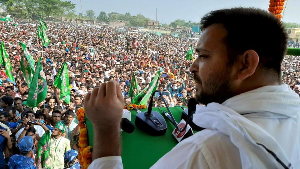 RJD leader Tejashwi Yadav addresses an election meeting ahead of the Bihar Assembly polls in Bhagalpur district.
